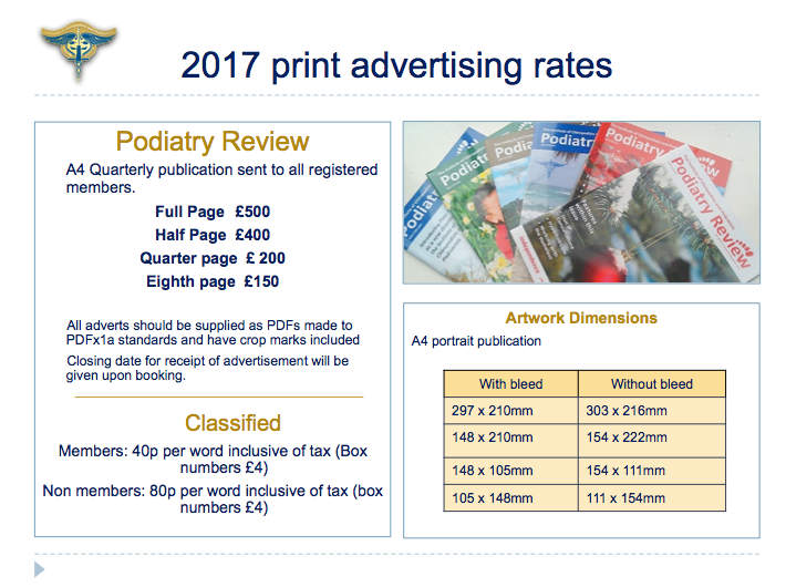Podiatry Review ad rates 2017